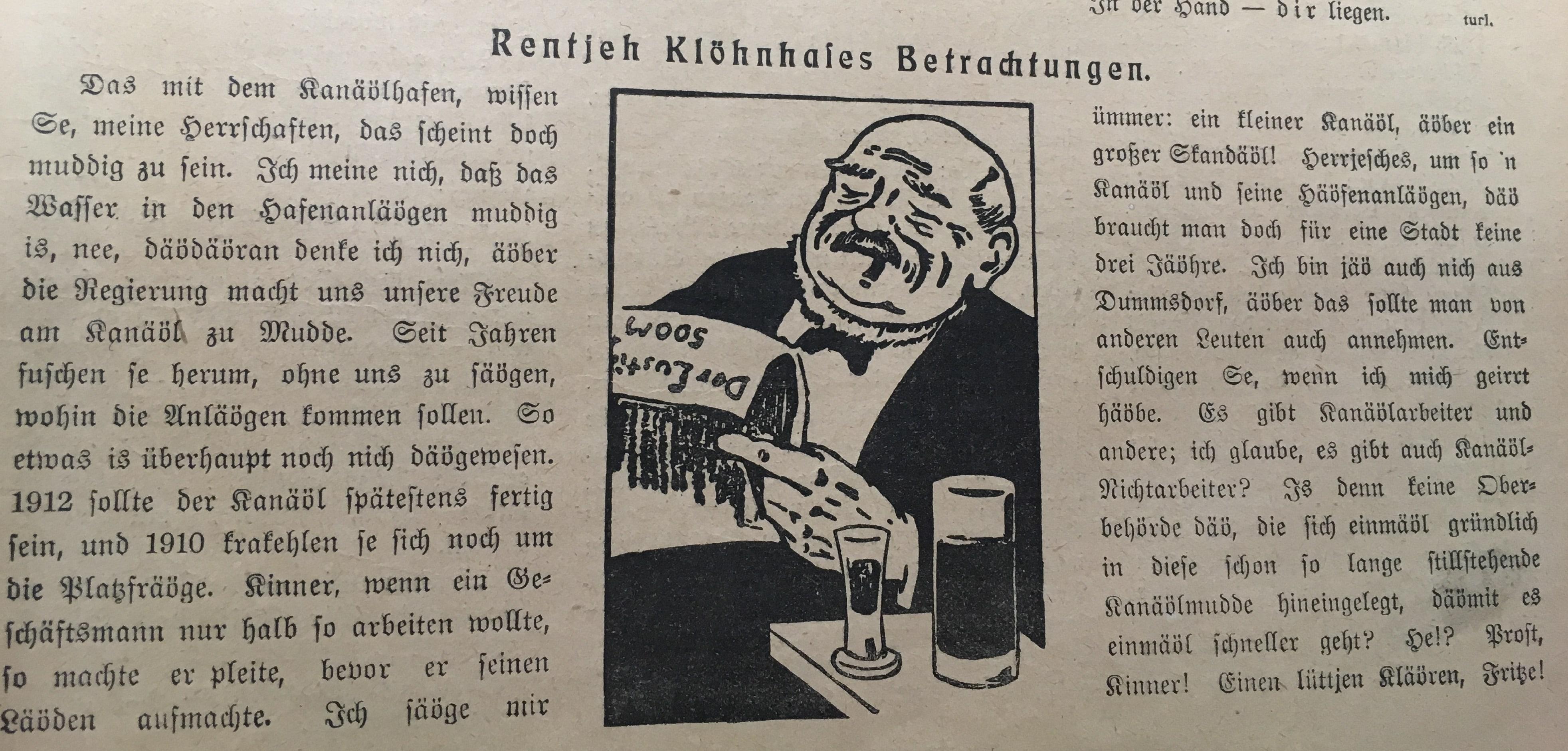 Scan der Kolumne: Rentjeh Klöhnhases Betrachtungen. Historische Zeitungsbeilagen.