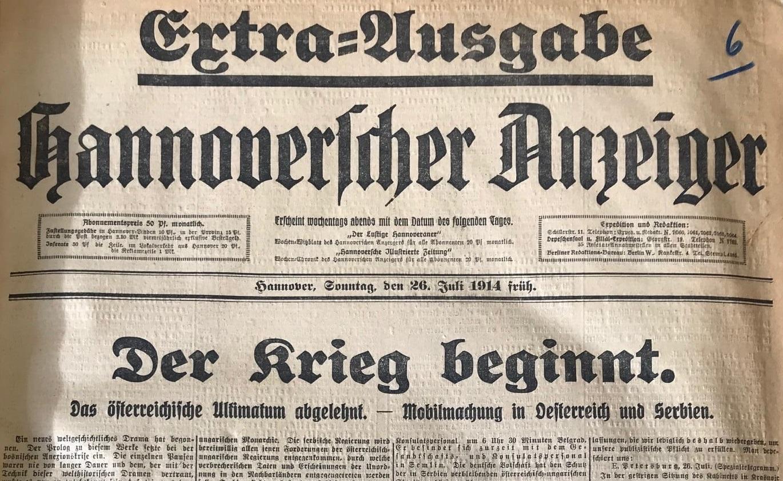 Scan: Extrablatt vom 26. Juli 1914. Historische Zeitungsbeilagen.